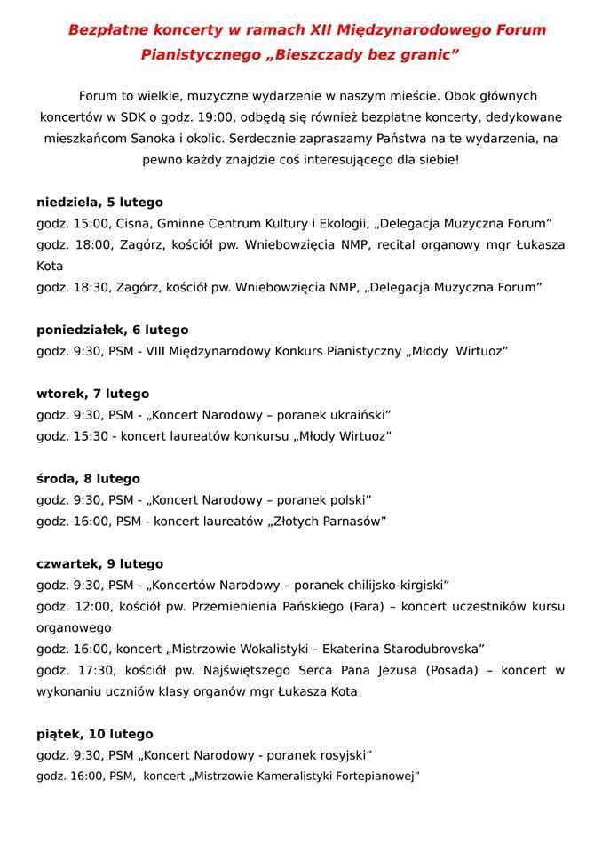 bezplate koncerty Bieszczdy bez granic