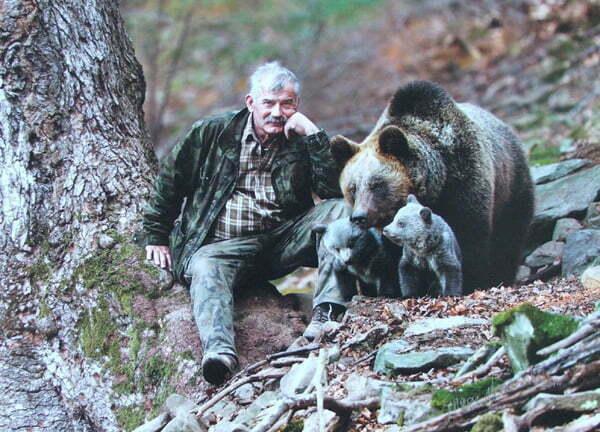 Kazimierz Nóżka z Agą, Lesiem i Grzesiem (fotomontaż) /Fot. Archiwum Kazimierza Nóżki