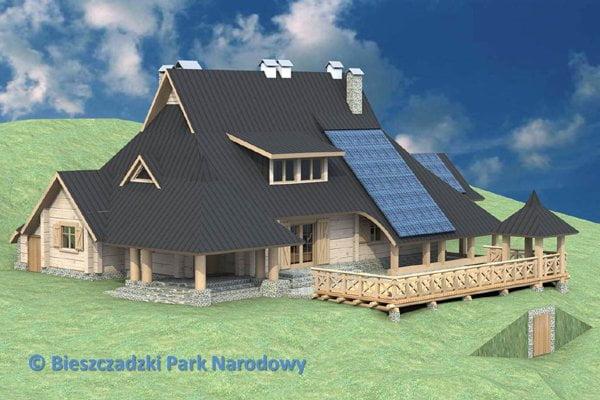 """Wizualizacja """"Chatki Puchatka"""" po przebudowie/Źródło: Bieszczadzki Park Narodowy"""