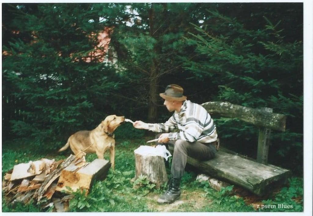 Adam Łysy Glinczewski z psem Blues /fot. prywatne zbiory Łysego