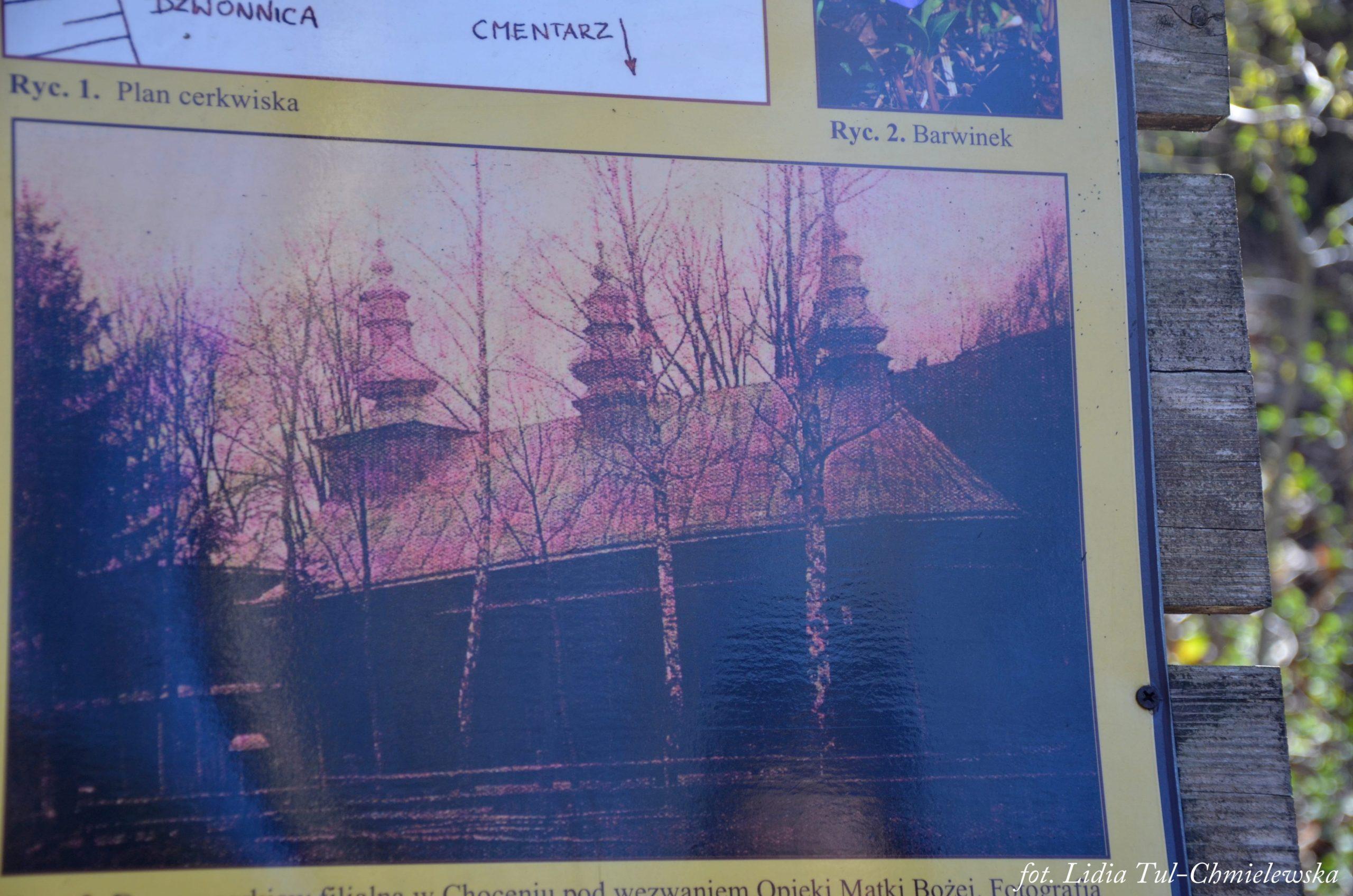 Choceń - widok cerkwi tablica informacyjna