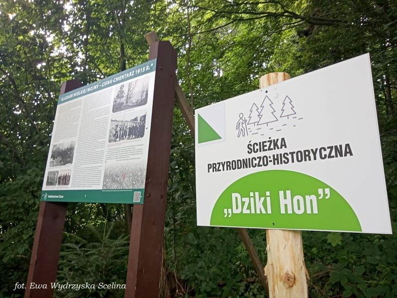 Tablice informacyjne nowej ścieżki Dziki Hon fot. Ewa Wydrzyńska - Scelina